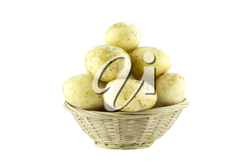 potatoes in straw dish  (with clipping work path)