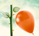 Rose thorn about to pop love heart balloon in vintage blue sky, clipping path and alpha channel included.