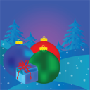 Royalty Free Photo of a Christmas Background With Trees and Ornaments