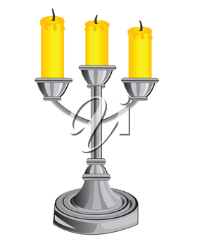 Vector illustration of the candlestick on three candles