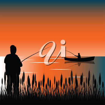 The Taps on lake with bulrush.Vector illustration
