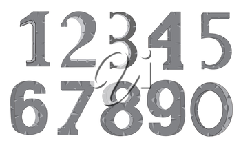 Set of the decorative numerals on white background is insulated