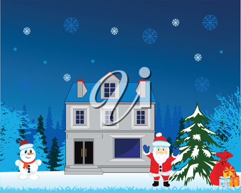 The Winter holiday new year and gift from santa.Vector illustration