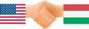 Royalty Free Clipart Image of United States and Hungary Shaking Hands