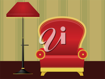 Royalty Free Clipart Image of a Red Chair and Lamp