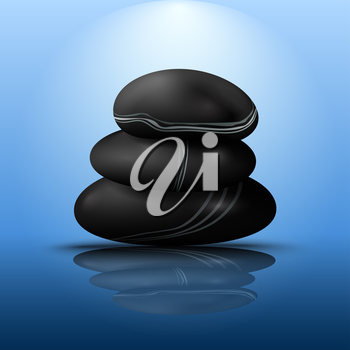 Royalty Free Clipart Image of a Stack of Stones Reflected