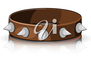 Collar brown with white spikes isolated on a white background. Vector illustration.