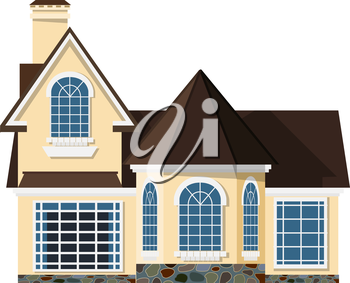 Flat style. Small two-storey house with beautiful arched windows on a white background. Icon Building. Element for the site estate agency. Symbol of wealth and success. Stock vector illustration