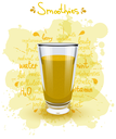 Vector illustration high glass cup with a yellow smoothies. Healthy nutrition - smoothies.  Color image of yellow smoothies on a white background with the text, shadow and color  blots