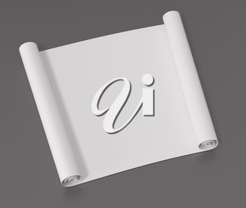 White roll of paper on a gray surface. 3D illustration