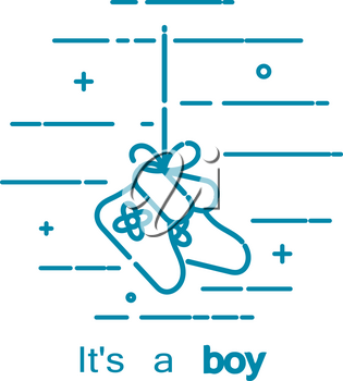 Vector illustration of boy's birthday concept. Vector abstract icon drawing of small shoes