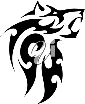 Abstract vector tattoo of a strong wolf on a white background. Angry beast bared fangs. Stock illustration