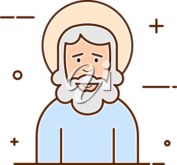 Abstract vector illustration of a traditional god with a halo and a beard. Religious symbol in a line style on a white background