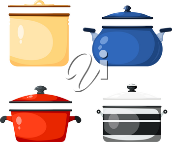 Set of kitchen pans in the style of a card. Vector illustration of kitchen accessories. Kitchen casserole on a white background