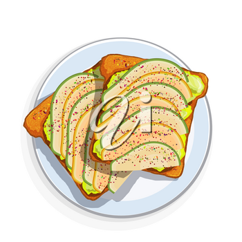 Avocado sandwich Slices of fresh bread with avocado slices, seeds and spices. Vector illustration of healthy vegetarian food on white background