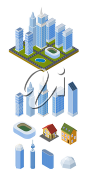 Set of vector isometric buildings. Treble-style multi-storey houses on a white background. Vector illustration