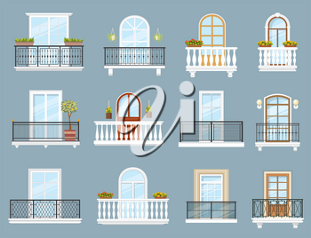 Balconies of house or apartment building vector design of architecture elements. Home facade balconies with windows, doors and railings, iron and stone balustrades with glass, flower cachepots, lamps