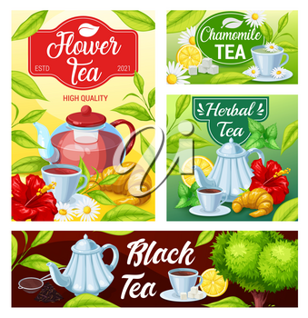 Tea cup and teapot of black, green and herbal beverage vector banners. Green tea leaves and mugs of hot drink with sugar, lemon and croissants, flowers of chamomile and hibiscus, mint and balm herbs