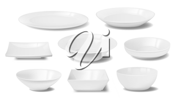 White plate, dish and food bowl realistic mockups of vector dishware and tableware. Empty clean ceramic or porcelain dinner plates, square and round crockery, restaurant and household kitchenware