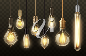 Light bulbs on transparent background realistic vector design. Glowing lamps of hanging filament or incandescent lightbulb, vintage ceiling pendants with warm yellow light, indoor lighting themes