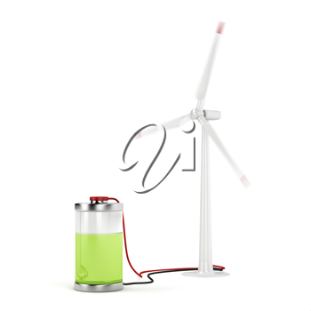 Concept image with wind turbine charging the battery