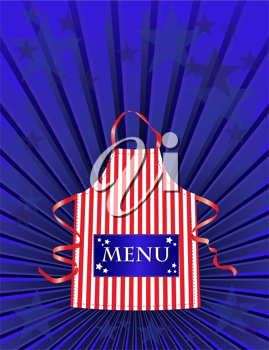 Royalty Free Clipart Image of a Menu With a Striped Apron