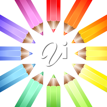 A circle of coloured pencils forming a colour wheel on a white background. EPS10 vector format