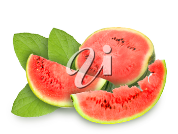 Still life with fresh red watermelon and green leafs. Placed on white background. Close-up. Studio photography.