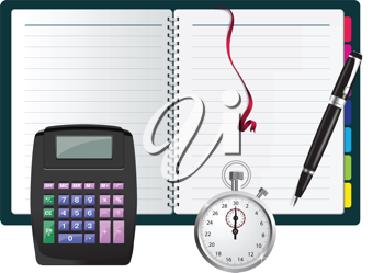 Royalty Free Clipart Image of a Calculator, Book and Stopwatch