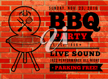 Barbecue grill party. Vector illustration on on a brick background