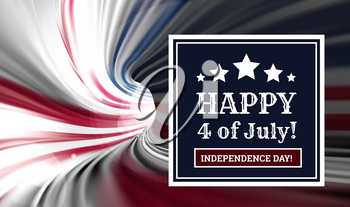 Congratulations on America's Independence Day, July 4 - the US national holiday on a flag background. Vector illustration