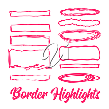 Hand drawn highlighter elements. Vector borders on white background
