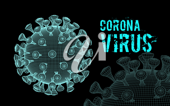 Coronavirus 2019-nCoV virus. Vector 3d illustration on black background
