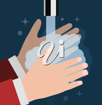 Wash your hand. Vector flat close-up illustration
