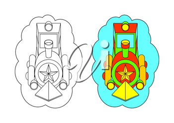 The picture for coloring. Locomotive.