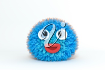 Hairy cartoon character with white background, 3d rendering. Computer digital drawing.