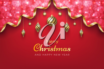 Merry Christmas holiday background in red color with sparkling gold ribbon for winter celebration in december