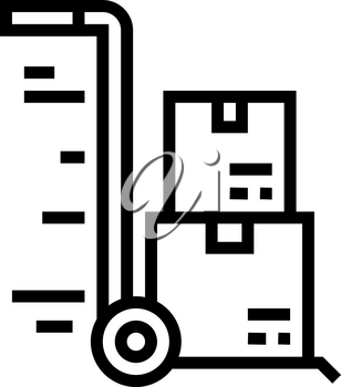 warehouse cart parcels free shipping line icon vector. warehouse cart parcels free shipping sign. isolated contour symbol black illustration