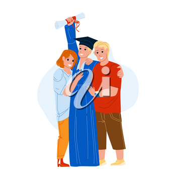 Graduation Ceremony Celebrate Student Boy Vector. Boy Holding Diploma And Posing With Parents Mother And Father On University Graduation Ceremony. Characters Flat Cartoon Illustration