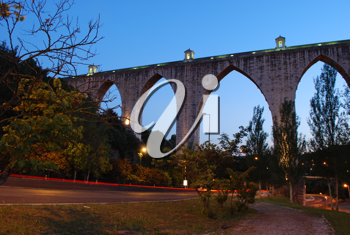 Royalty Free Photo of the Historic Aqueduct in Lisbon, Portugal