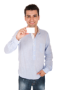Royalty Free Photo of a Man Holding a Card