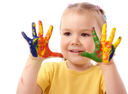 Royalty Free Photo of a Girl Fingerpainting