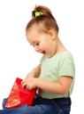 Royalty Free Photo of a Little Girl With a Gift Bag