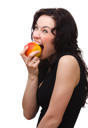 Royalty Free Photo of a Young Woman Eating an Apple