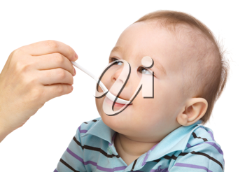 Royalty Free Photo of a Little Baby Being Fed