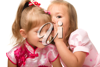 Royalty Free Photo of Two Girls Chatting