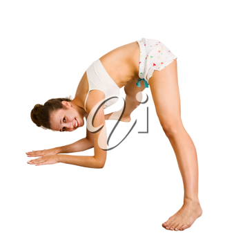 Royalty Free Photo of a Young Woman Stretching