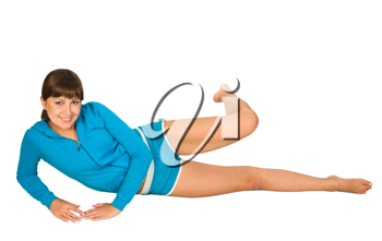 Royalty Free Photo of a Young Woman Doing Leg Exercises