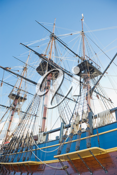 masts,sails and rigging of an old sailing ship