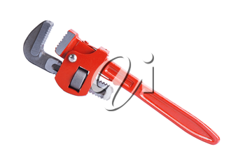 Adjustable pipe wrench isolated on white background